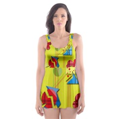 Playful day - yellow  Skater Dress Swimsuit