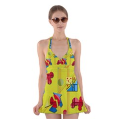 Playful Day   Yellow  Halter Swimsuit Dress
