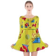 Playful day - yellow  Long Sleeve Velvet Skater Dress