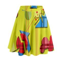 Playful day - yellow  High Waist Skirt