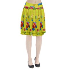 Playful day - yellow  Pleated Skirt