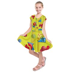 Playful day - yellow  Kids  Short Sleeve Dress