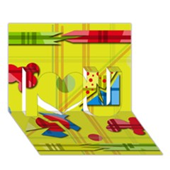 Playful day - yellow  I Love You 3D Greeting Card (7x5)
