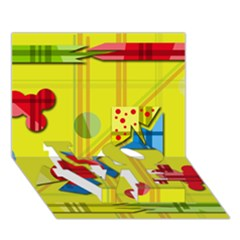 Playful Day   Yellow  Love Bottom 3d Greeting Card (7x5)