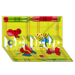 Playful day - yellow  BELIEVE 3D Greeting Card (8x4)