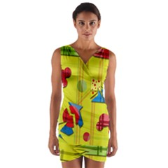 Playful day - yellow  Wrap Front Bodycon Dress