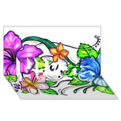 Tropical Hibiscus Flowers Hugs 3d Greeting Card (8x4)