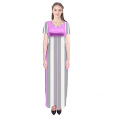 Gray And Pink Stripes Short Sleeve Maxi Dress