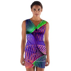 Colorful Rainbow Helix Wrap Front Bodycon Dress