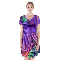 Colorful Rainbow Helix Short Sleeve V Neck Flare Dress