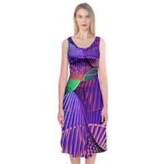 Colorful Rainbow Helix Midi Sleeveless Dress