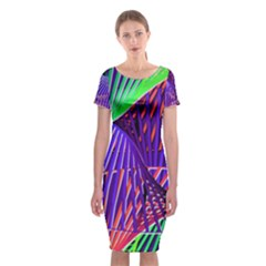 Colorful Rainbow Helix Classic Short Sleeve Midi Dress