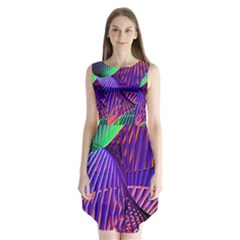 Colorful Rainbow Helix Sleeveless Chiffon Dress