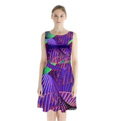 Colorful Rainbow Helix Sleeveless Chiffon Waist Tie Dress