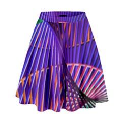 Colorful Rainbow Helix High Waist Skirt