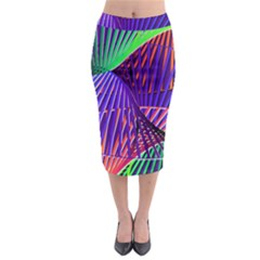 Colorful Rainbow Helix Midi Pencil Skirt
