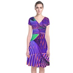 Colorful Rainbow Helix Short Sleeve Front Wrap Dress