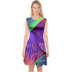 Colorful Rainbow Helix Capsleeve Midi Dress