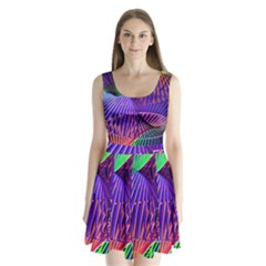 Colorful Rainbow Helix Split Back Mini Dress