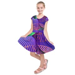 Colorful Rainbow Helix Kids  Short Sleeve Dress