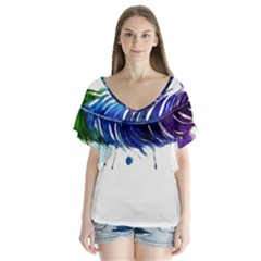 Watery Feather Flutter Sleeve Top