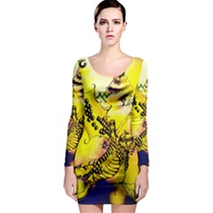 Dance Dragon A Fairy Tale Painting Long Sleeve Bodycon Dress