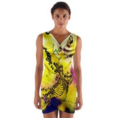 Dance Dragon A Fairy Tale Painting Wrap Front Bodycon Dress