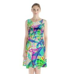 Design Background Concept Fractal Sleeveless Chiffon Waist Tie Dress