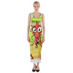 Dragon Chinese Chinese Dragon Food Fitted Maxi Dress