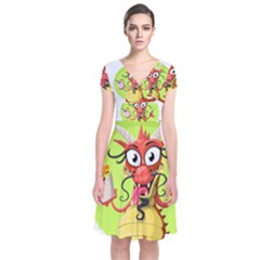 Dragon Chinese Chinese Dragon Food Short Sleeve Front Wrap Dress