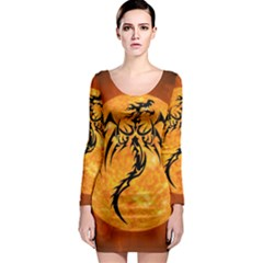 Dragon Fire Monster Creature Long Sleeve Bodycon Dress