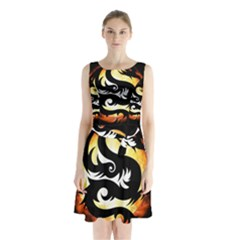 Dragon Fire Monster Creature  Sleeveless Chiffon Waist Tie Dress