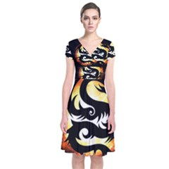 Dragon Fire Monster Creature  Short Sleeve Front Wrap Dress