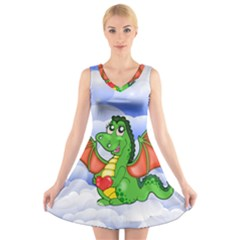 Dragon Heart Kids Love Cute V-Neck Sleeveless Skater Dress