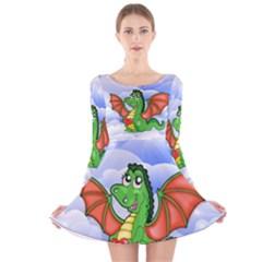 Dragon Heart Kids Love Cute Long Sleeve Velvet Skater Dress