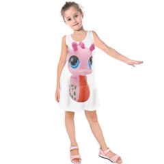 Dragon Toy Pink Plaything Creature Kids  Sleeveless Dress
