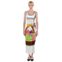 Easter Bunny Eggs Nest Basket Fitted Maxi Dress