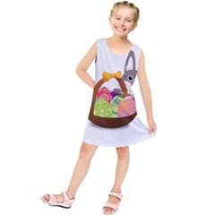 Easter Bunny Eggs Nest Basket Kids  Tunic Dress