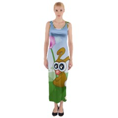 Easter Spring Flowers Happy Fitted Maxi Dress