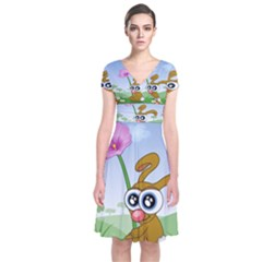 Easter Spring Flowers Happy Short Sleeve Front Wrap Dress