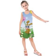 Easter Spring Flowers Happy Kids  Sleeveless Dress