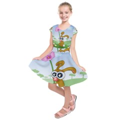 Easter Spring Flowers Happy Kids  Short Sleeve Dress