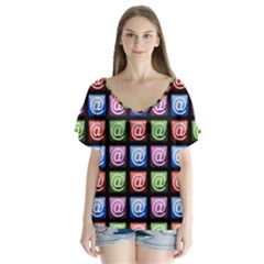 Email At Internet Computer Web Flutter Sleeve Top