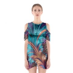 Feather Fractal Artistic Design Cutout Shoulder Dress