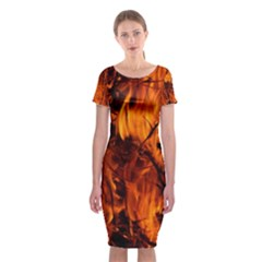 Fire Easter Easter Fire Flame Classic Short Sleeve Midi Dress