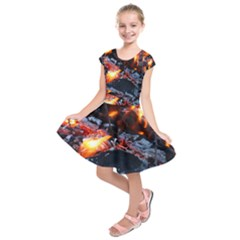 Fire Embers Flame Heat Flames Hot Kids  Short Sleeve Dress
