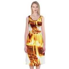 Fire Flame Wood Fire Brand Midi Sleeveless Dress