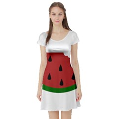 Food Slice Fruit Bitten Watermelon Short Sleeve Skater Dress