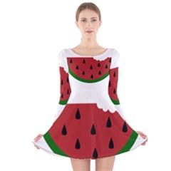 Food Slice Fruit Bitten Watermelon Long Sleeve Velvet Skater Dress