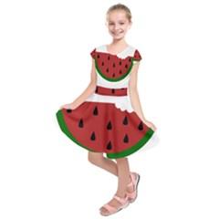 Food Slice Fruit Bitten Watermelon Kids  Short Sleeve Dress